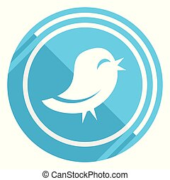 Twitter flat design blue web icon, easy to edit vector illustration for webdesign and mobile applications