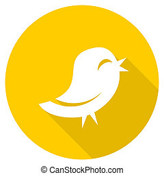 twitter flat design yellow web icon