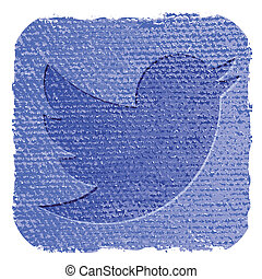 twitter, grunge, stijl, pictogram