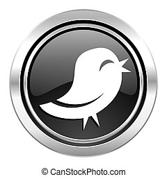 twitter icon, black chrome button