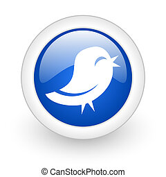 twitter icon - twitter blue glossy icon on white background...