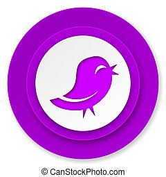 twitter icon, violet button