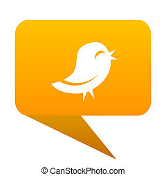 twitter orange bulb web icon isolated.