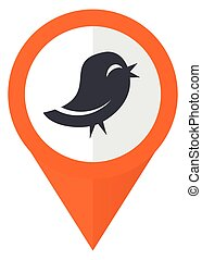 Twitter orange pointer vector icon in eps 10 isolated on white background.
