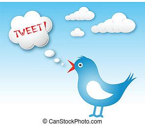 twitter, pássaro, e, texto, nuvem, com, tweet
