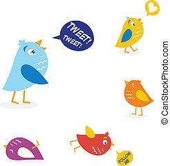 twitter, set, gekleurde, vogels