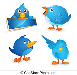 twitter, set, vogel, spotprent, pictogram