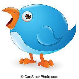 twitter, vogel, spotprent, pictogram