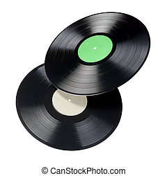 Two 12-inch vinyl records with blank label isolated.