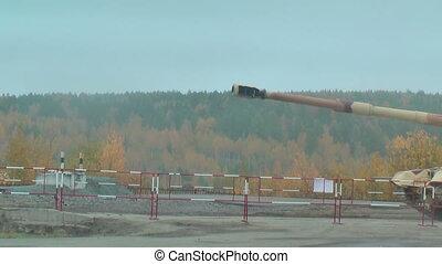Two 152 mm howitzers 2S19 Msta-S. Russia - Nizhniy Tagil,...