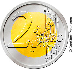 Two (2) Euro Coin - Illustration of a two (2) euro coin...