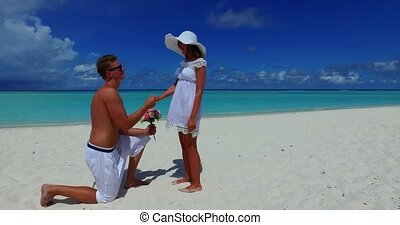 two 2 people proposal marriage romantic young couple holding...