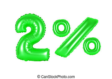 two 2 percent from balloons green