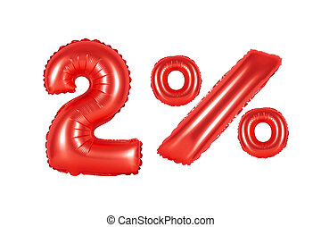 two 2 percent from balloons red