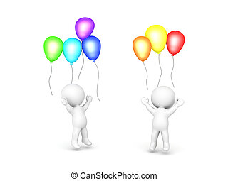 Two 3D Characters celebrating with balloons