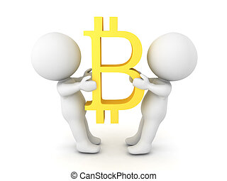 Two 3D Characters fighting over bitcoin
