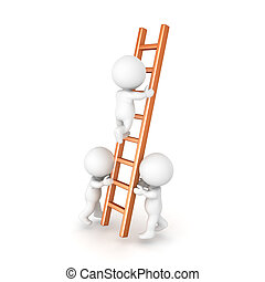 Two 3D Characters holding a ladder in order for one to...
