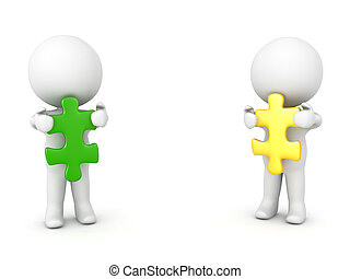 Two 3D Characters holding green and yellow puzzle pieces....