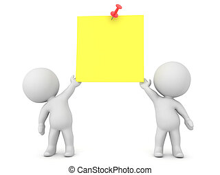 Two 3D Characters holding up a yellow sticky note with red pin