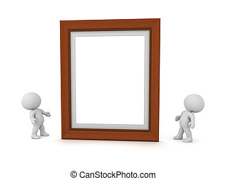 Two 3D Characters Looking Up at a Picture Frame