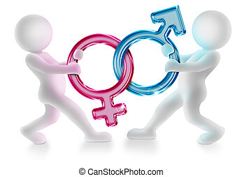 two 3d characters pulling male and female gender symbols