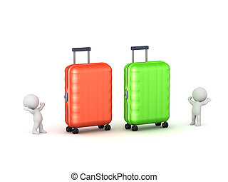 Two 3D Characters with Large Luggage