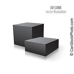 Two 3D cubes black isolated on white background