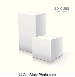 Two 3D cubes isolated on white background
