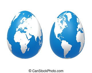 two 3d eggs world in blue - two 3d blue eggs with earth...