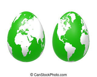 two 3d eggs world in green - two 3d green eggs with earth...