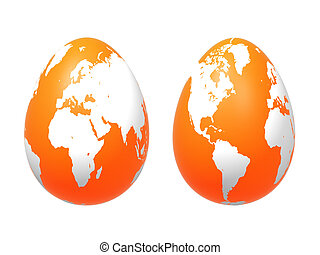 two 3d eggs world in orange - two 3d orange eggs with earth...