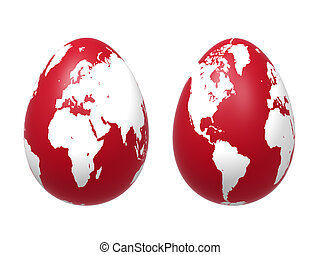 two 3d eggs world in red - two 3d red eggs with earth...