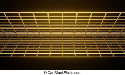 Two 3d gold bars rotating and intersecting horizontally in ...