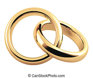 Two 3d gold wedding ring. Objects isolated over white