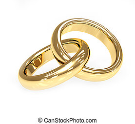 Two 3d gold wedding ring. Objects over white