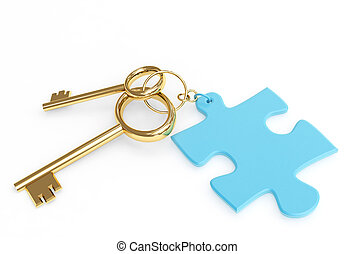 Two 3d gold keys with label. Objects over white