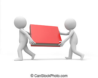 Two 3d men carrying a red book