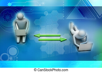 Two 3d people holding laptops are c