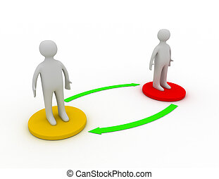 Two 3d people standing on different bases are connected with arrows