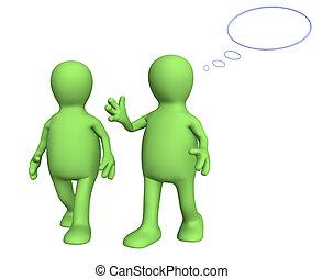 Two 3d puppets, talking on walk