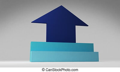 Two 3D stair step. arrow square intro title box diagram...