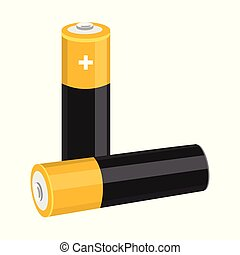 Two AA size batteries isolated on white background. - Two AA...