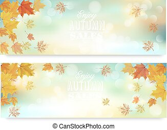Two abstract autumn banners with color leaves. Vector