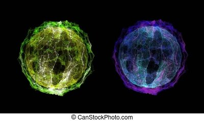 Two abstract balls of a virus with an alpha channel
