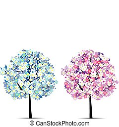 two abstract flower trees vector ep