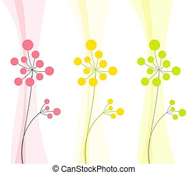 two abstract flowers in three colors