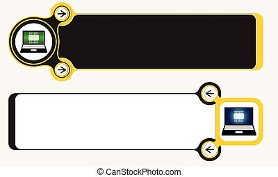 Two abstract frames for your text and laptop icon