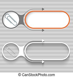 Two abstract frames with arrows and paper clip