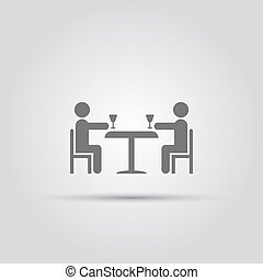 two abstract people sitting at a table with glasses of wine isolated vector icon