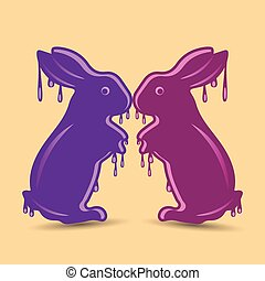 Two abstract purple hares, wet or melted, object for decoration,